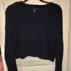 Navy Sweater Cropped